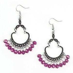 Purple Beaded Silver Studded Frame Dangle Earrings